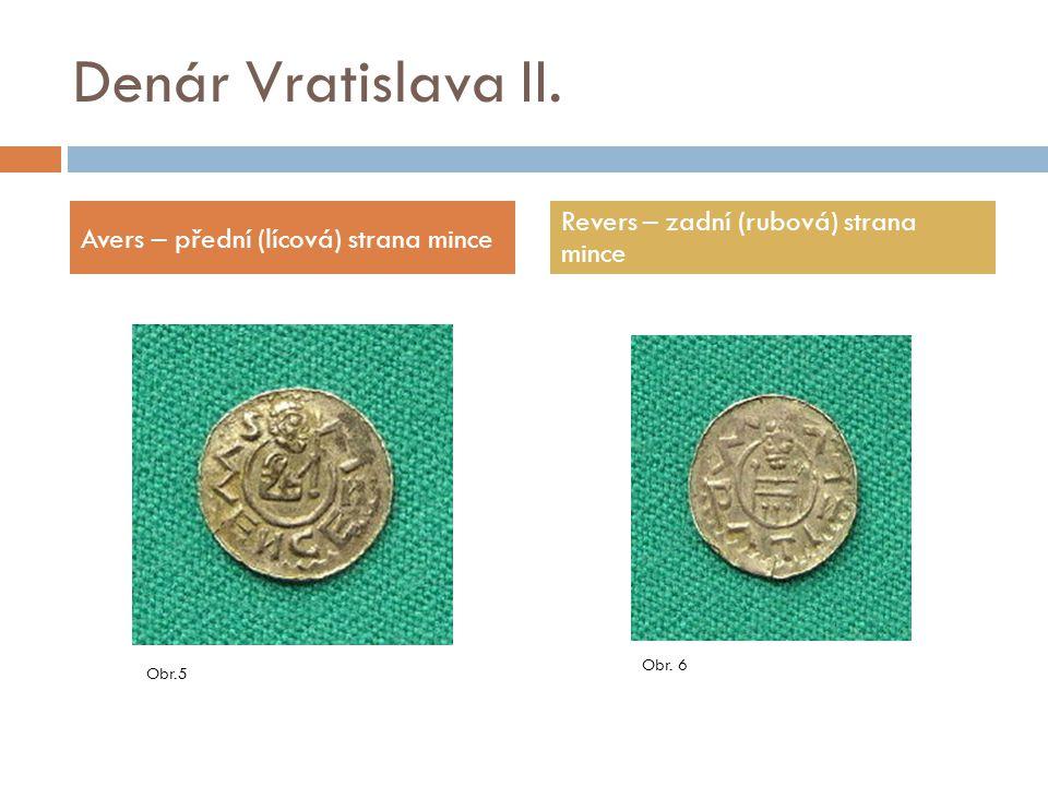 Denár Vratislava II. Revers – zadní (rubová) strana mince