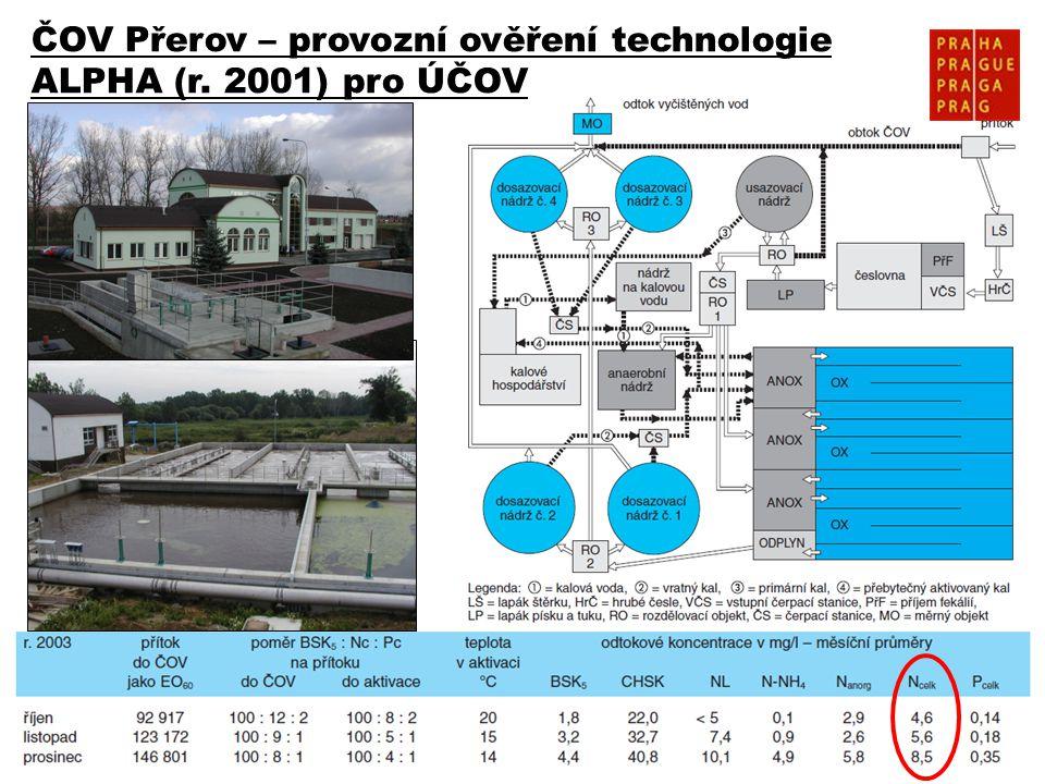 ČOV Přerov – provozní ověření technologie ALPHA (r. 2001) pro ÚČOV