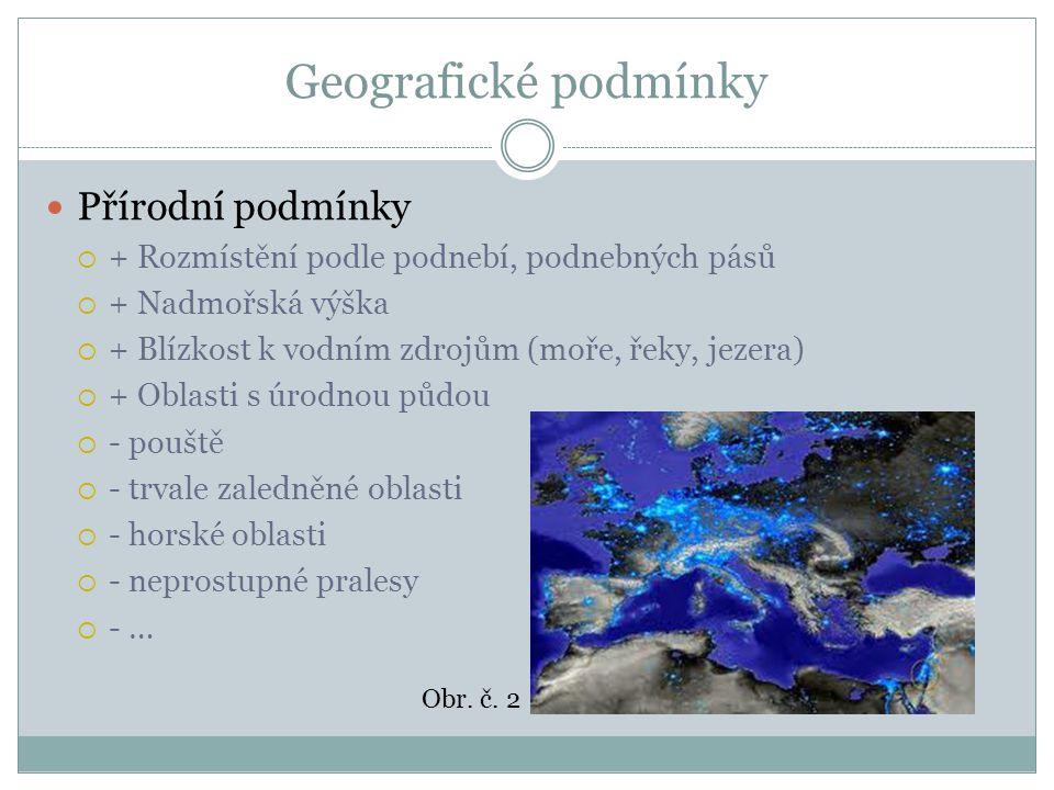 Geografické podmínky Přírodní podmínky