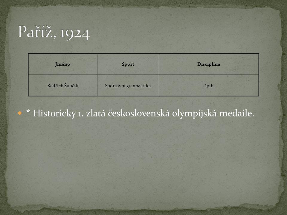 Paříž, 1924 * Historicky 1. zlatá československá olympijská medaile.
