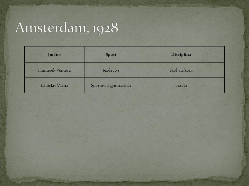 Amsterdam, 1928 Jméno Sport Disciplína František Ventura Jezdectví