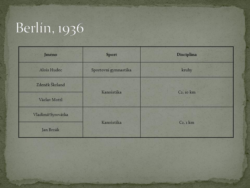 Berlín, 1936 Jméno Sport Disciplína Alois Hudec Sportovní gymnastika