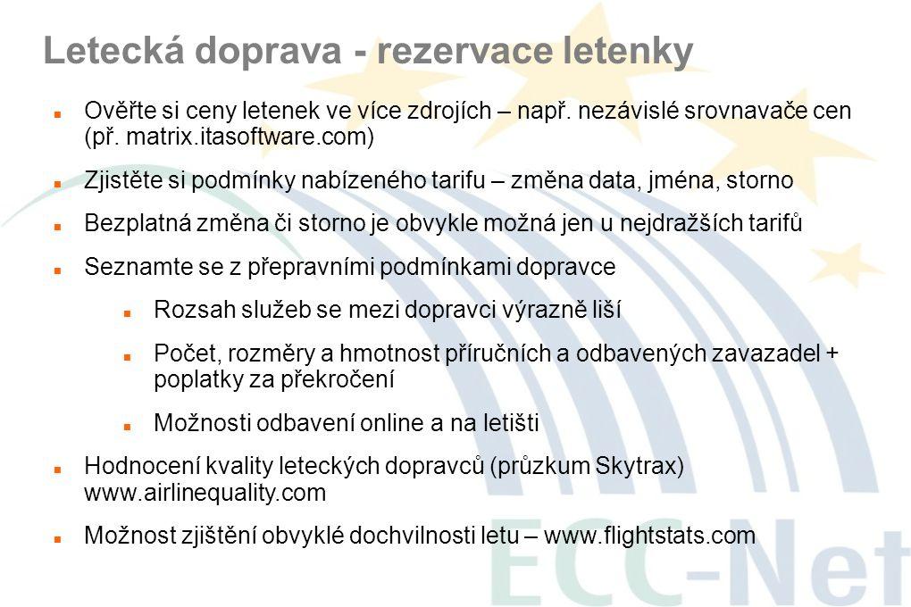 Letecká doprava - rezervace letenky