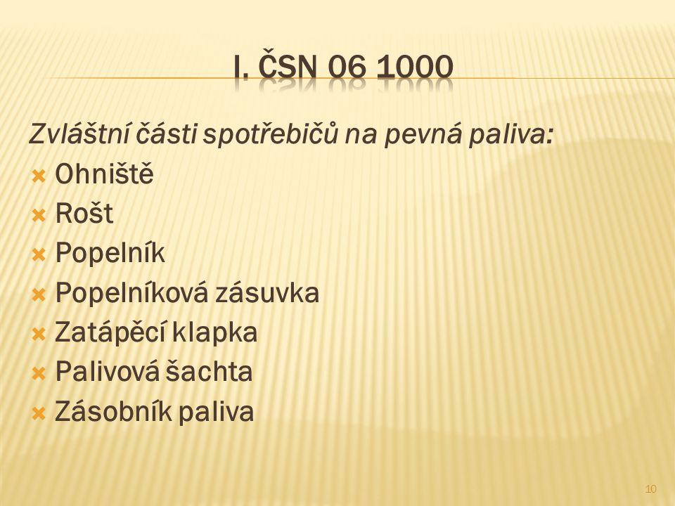 I. ČSN 06 1000 Zvláštní části spotřebičů na pevná paliva: Ohniště Rošt