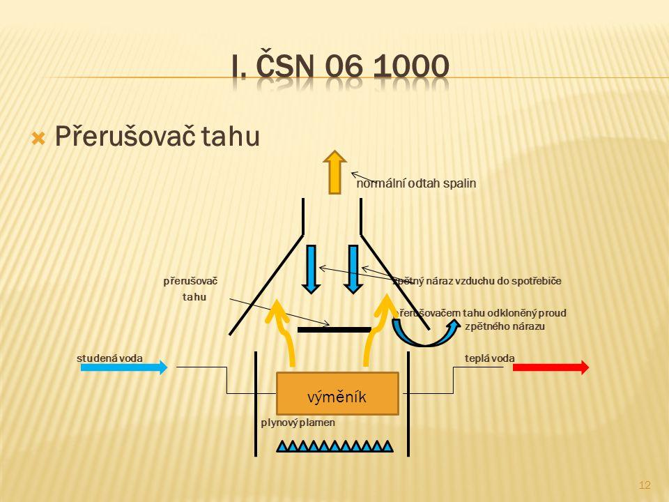 I. ČSN 06 1000 Přerušovač tahu výměník normální odtah spalin