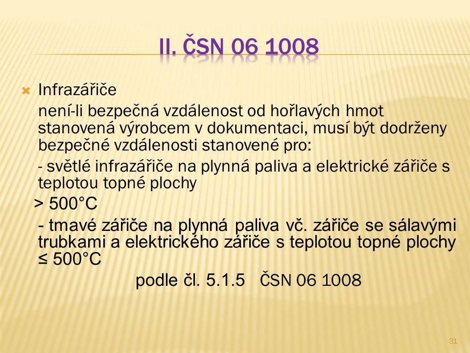 II. ČSN 06 1008 Infrazářiče.