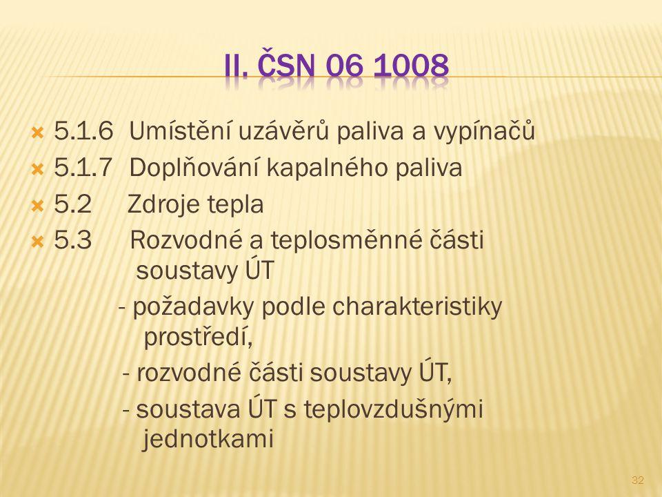 II. ČSN 06 1008 5.1.6 Umístění uzávěrů paliva a vypínačů