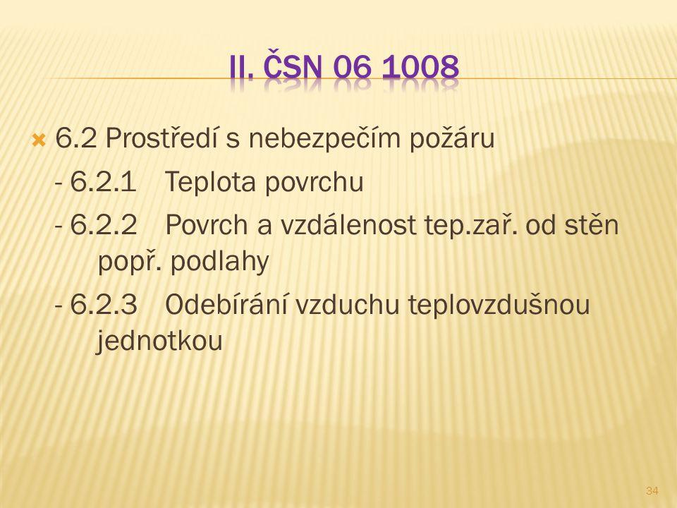 II. ČSN 06 1008 6.2 Prostředí s nebezpečím požáru
