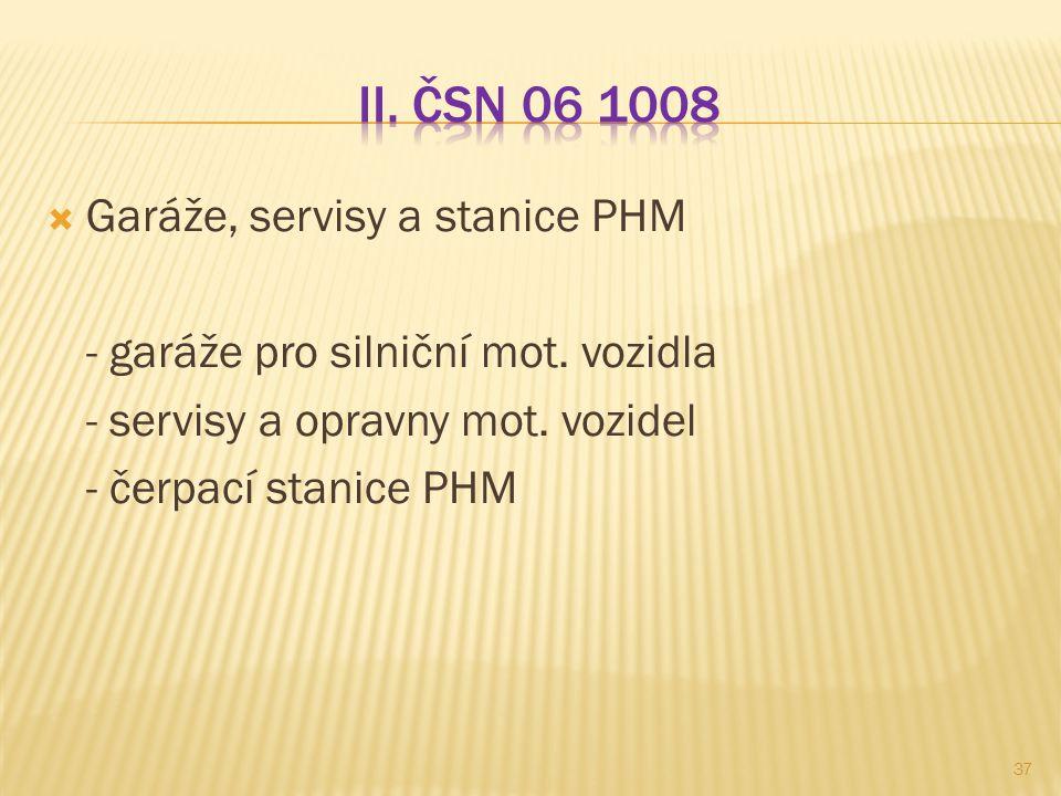 II. ČSN 06 1008 Garáže, servisy a stanice PHM