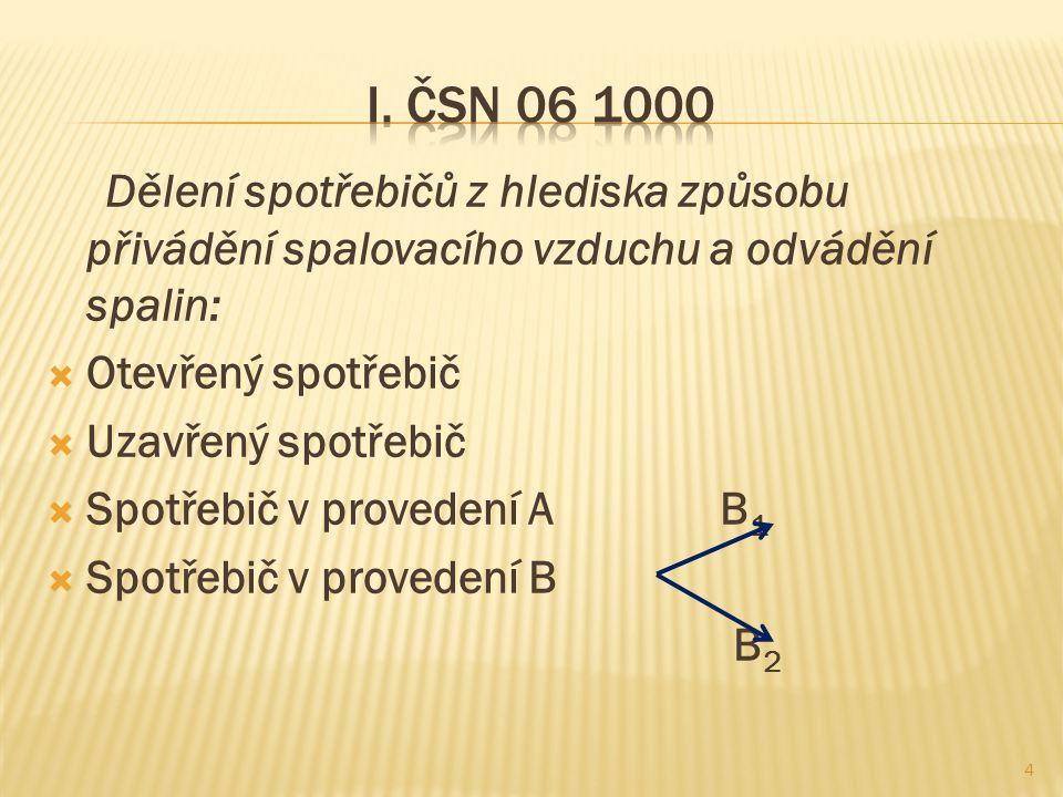I. ČSN 06 1000 Dělení spotřebičů z hlediska způsobu přivádění spalovacího vzduchu a odvádění spalin:
