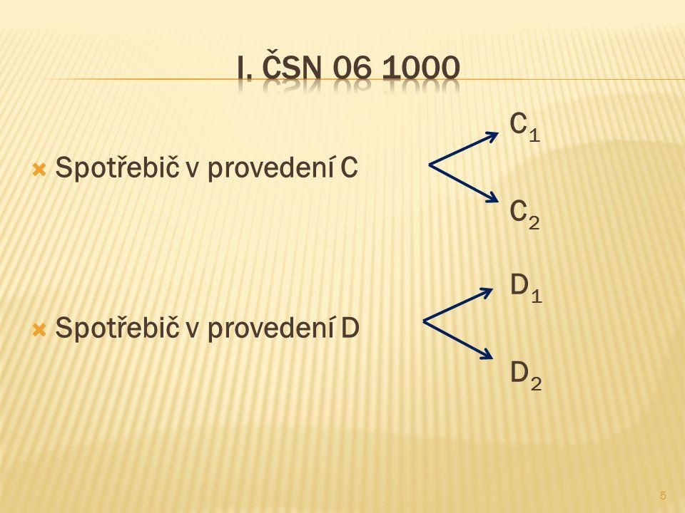 I. ČSN 06 1000 C1 Spotřebič v provedení C C2 D1