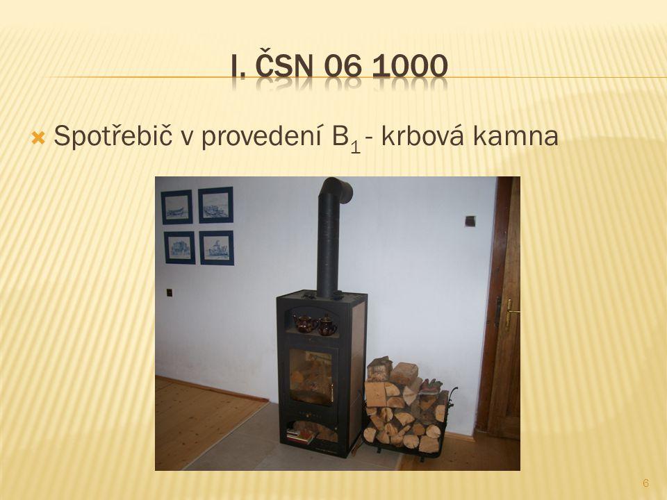I. ČSN 06 1000 Spotřebič v provedení B1 - krbová kamna