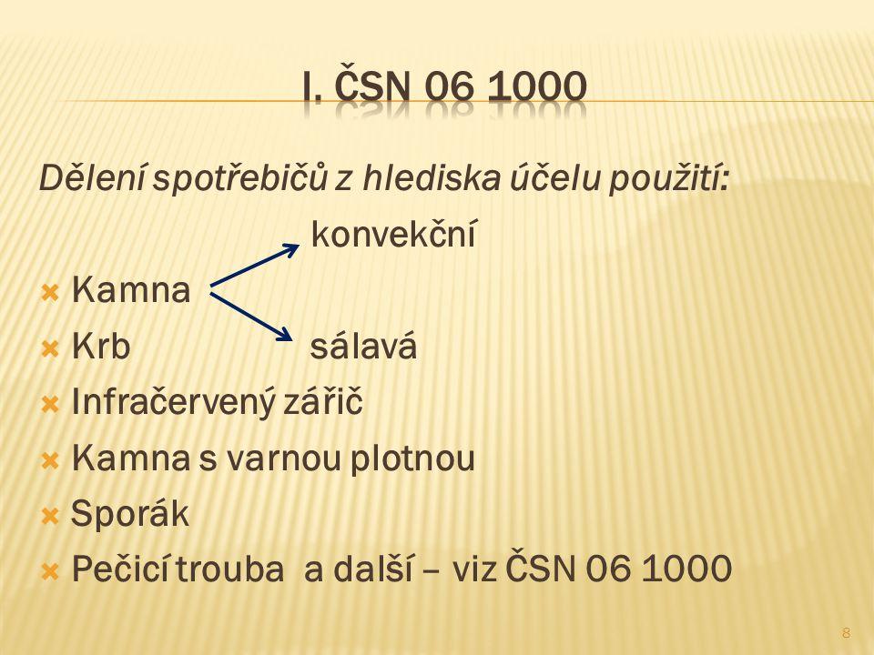 I. ČSN 06 1000 Dělení spotřebičů z hlediska účelu použití: konvekční