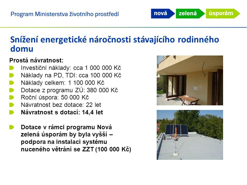 Snížení energetické náročnosti stávajícího rodinného domu