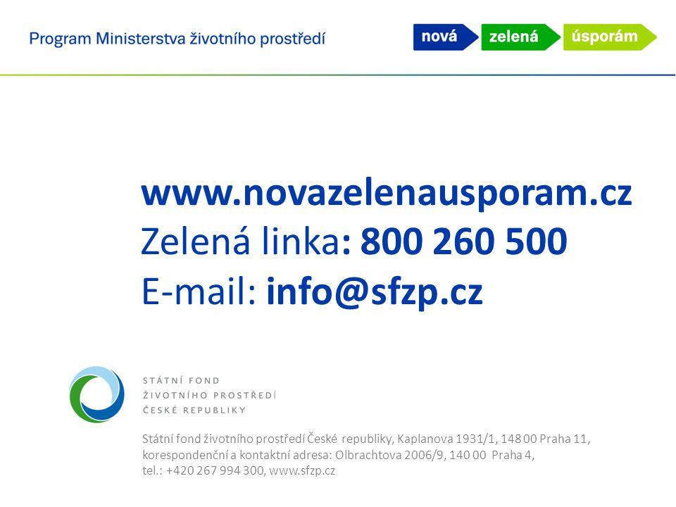 www.novazelenausporam.cz Zelená linka: 800 260 500