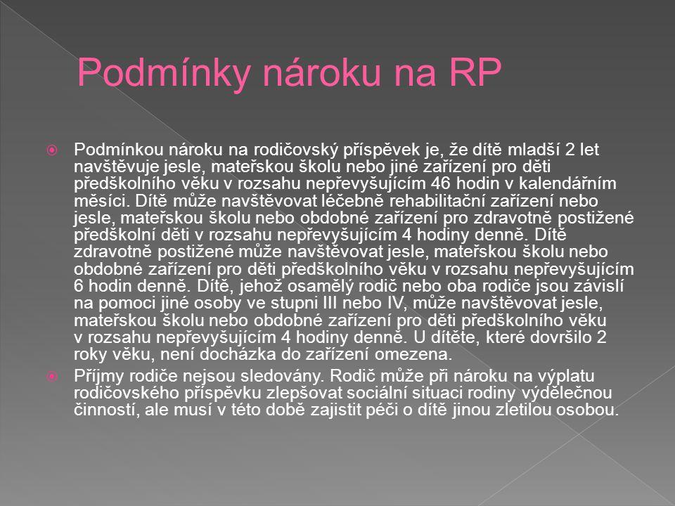 Podmínky nároku na RP