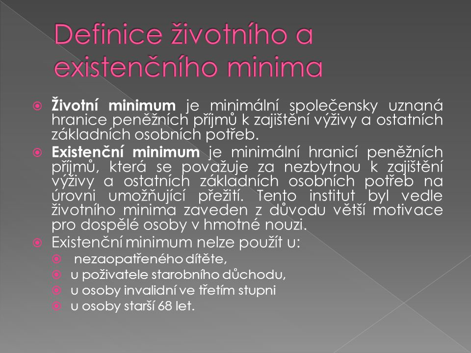 Definice životního a existenčního minima