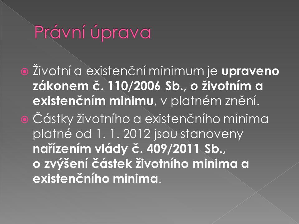 Právní úprava Životní a existenční minimum je upraveno zákonem č. 110/2006 Sb., o životním a existenčním minimu, v platném znění.