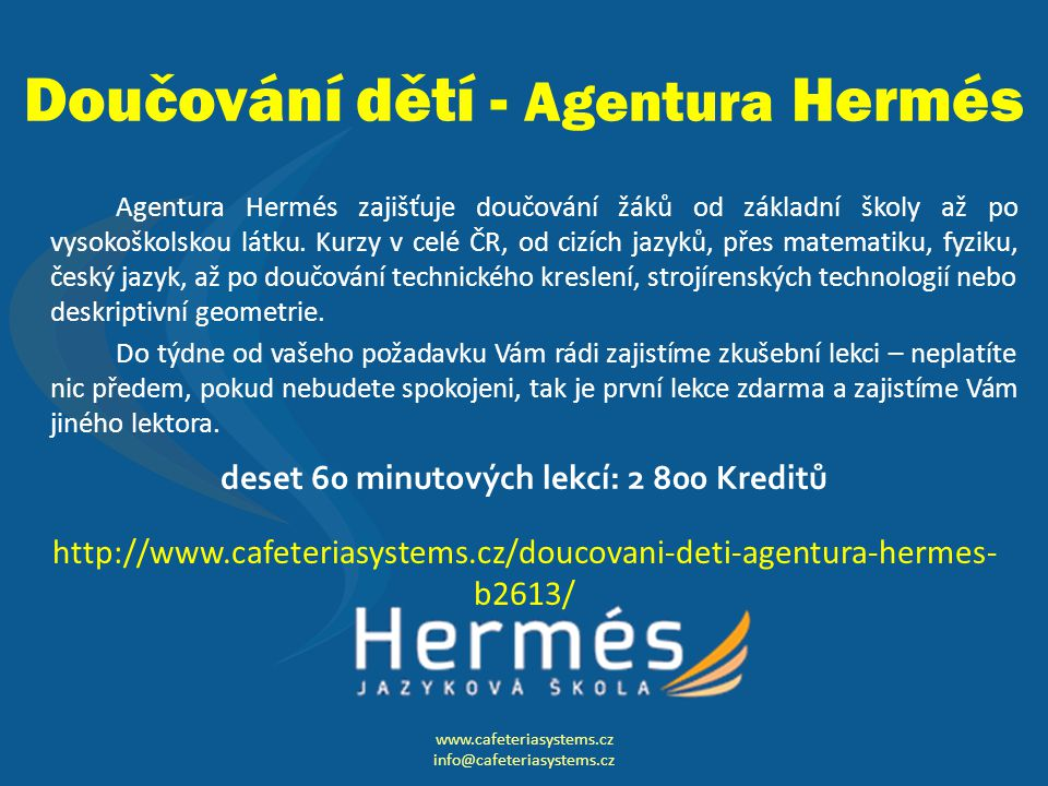 Doučování dětí - Agentura Hermés