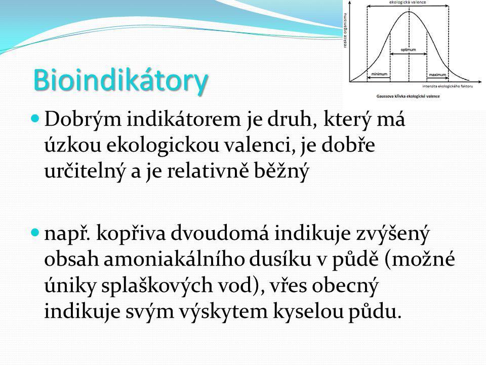 Bioindikátory Dobrým indikátorem je druh, který má úzkou ekologickou valenci, je dobře určitelný a je relativně běžný.