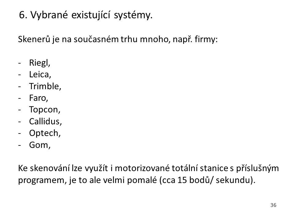 6. Vybrané existující systémy.