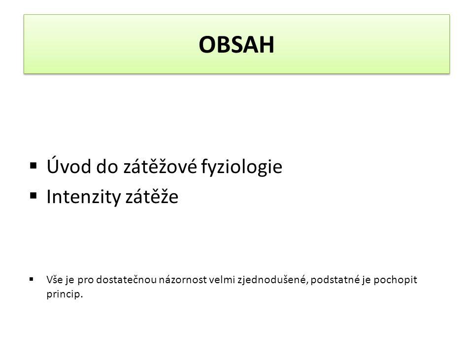 OBSAH Úvod do zátěžové fyziologie Intenzity zátěže