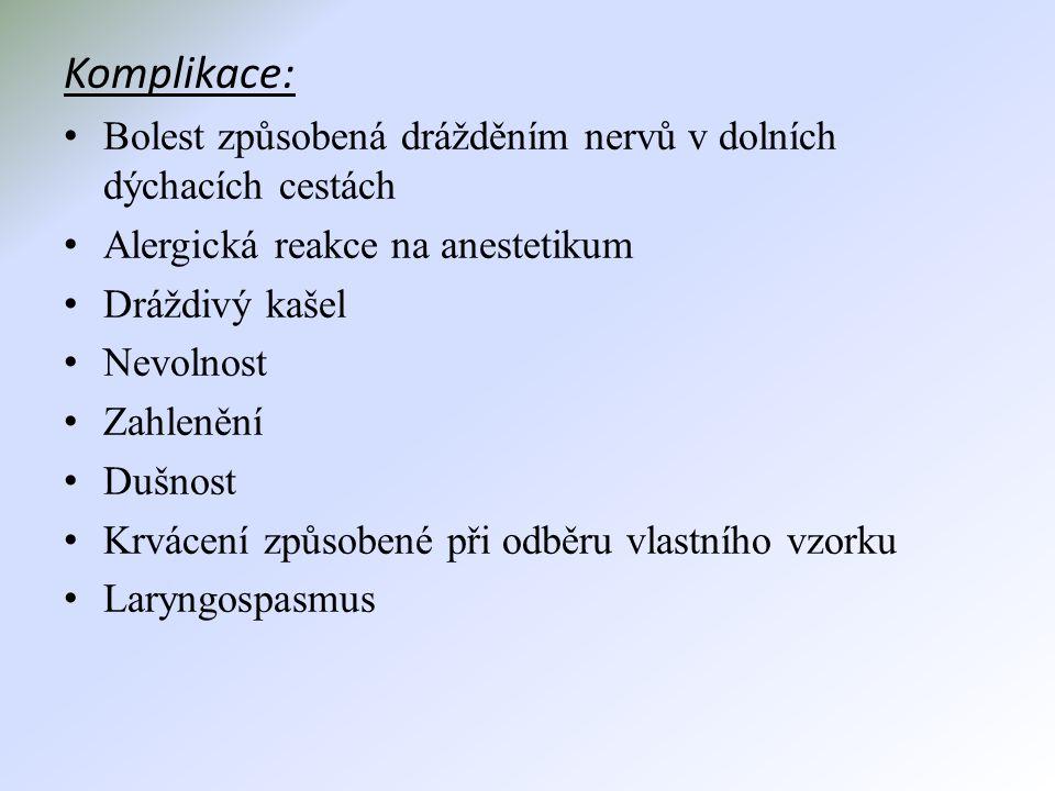 Komplikace: Bolest způsobená drážděním nervů v dolních dýchacích cestách. Alergická reakce na anestetikum.
