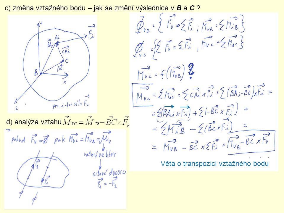 c) změna vztažného bodu – jak se změní výslednice v B a C