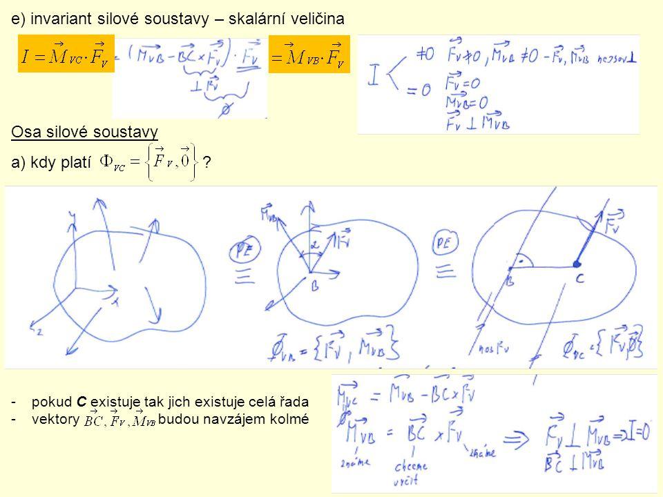 e) invariant silové soustavy – skalární veličina