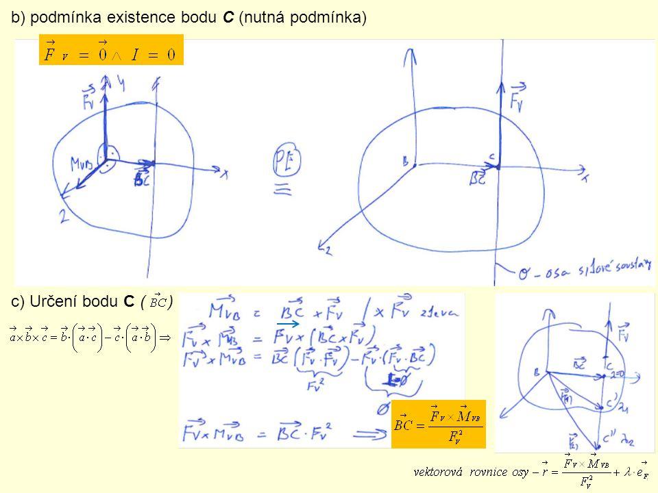 b) podmínka existence bodu C (nutná podmínka)