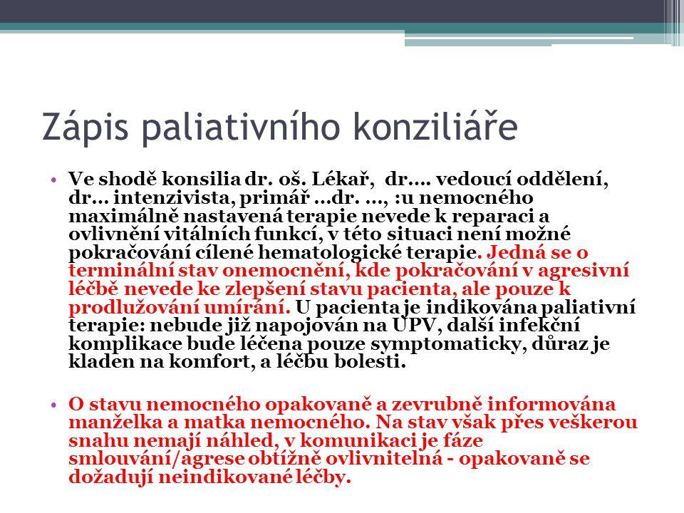 Zápis paliativního konziliáře
