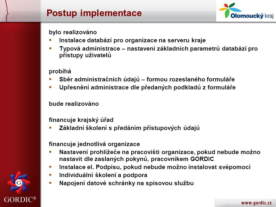 Postup implementace bylo realizováno