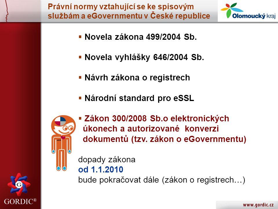 Návrh zákona o registrech Národní standard pro eSSL