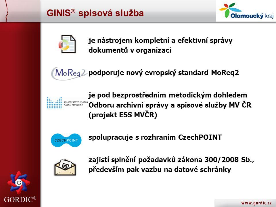 GINIS® spisová služba je nástrojem kompletní a efektivní správy dokumentů v organizaci. podporuje nový evropský standard MoReq2.