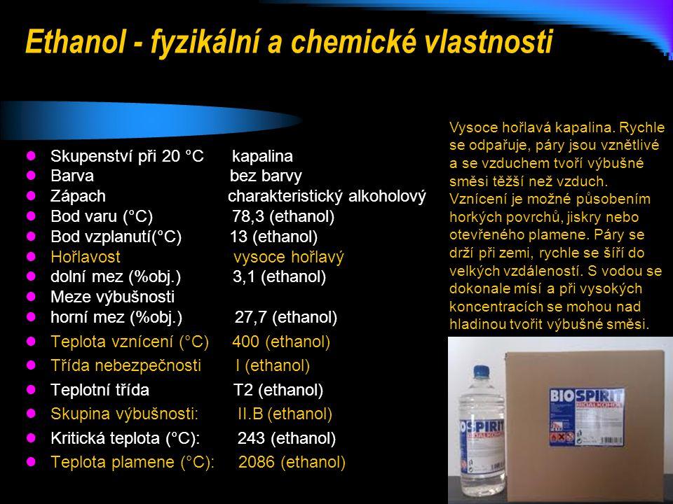 Ethanol - fyzikální a chemické vlastnosti