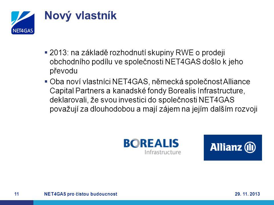 Nový vlastník 2013: na základě rozhodnutí skupiny RWE o prodeji obchodního podílu ve společnosti NET4GAS došlo k jeho převodu.