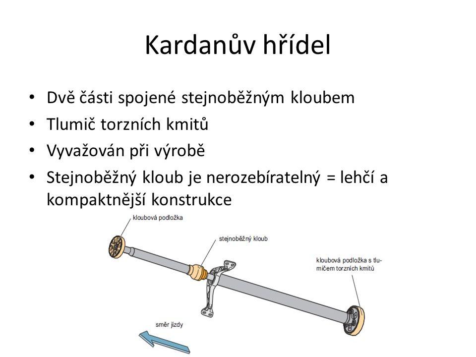 Kardanův hřídel Dvě části spojené stejnoběžným kloubem