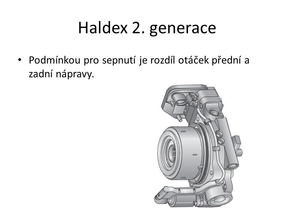Haldex 2. generace Podmínkou pro sepnutí je rozdíl otáček přední a zadní nápravy.