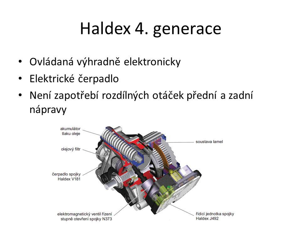 Haldex 4. generace Ovládaná výhradně elektronicky Elektrické čerpadlo