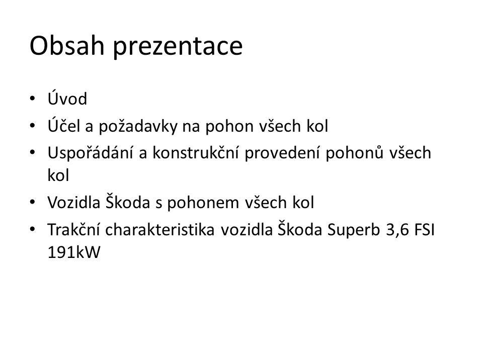 Obsah prezentace Úvod Účel a požadavky na pohon všech kol