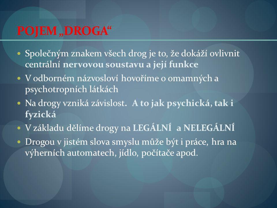 """POJEM """"DROGA Společným znakem všech drog je to, že dokáží ovlivnit centrální nervovou soustavu a její funkce."""