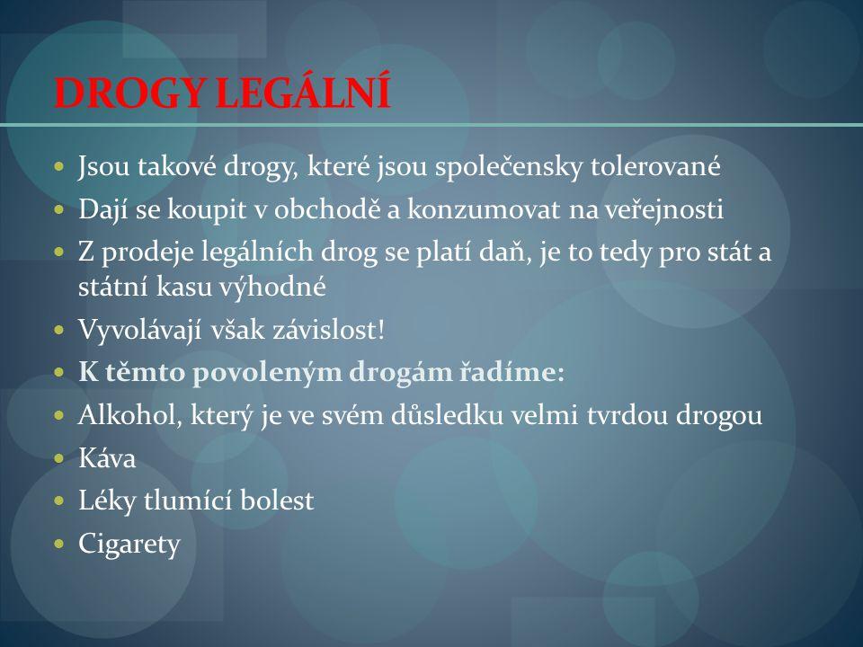 DROGY LEGÁLNÍ Jsou takové drogy, které jsou společensky tolerované