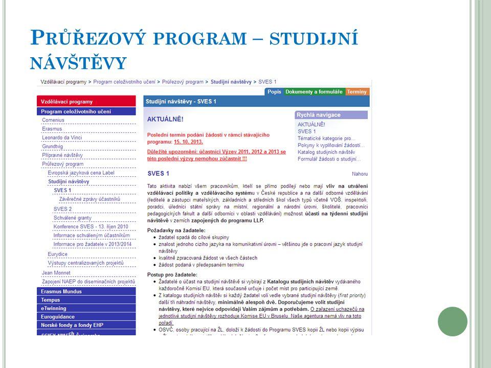 Průřezový program – studijní návštěvy