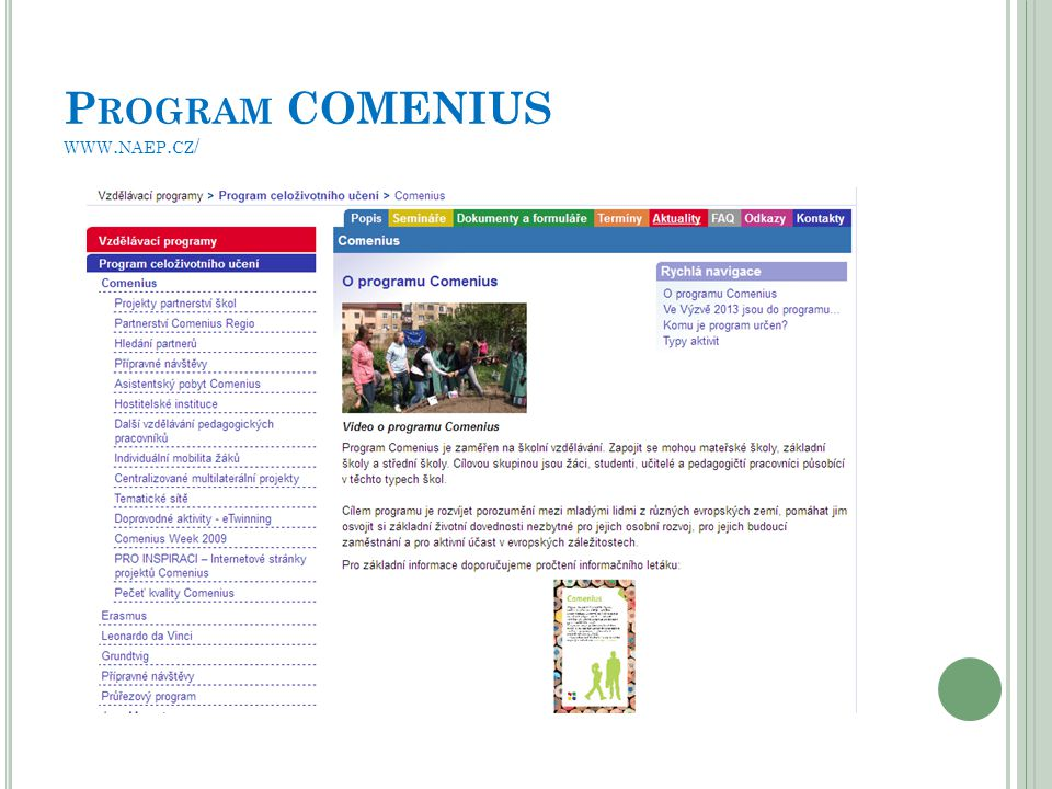 Program COMENIUS www.naep.cz/