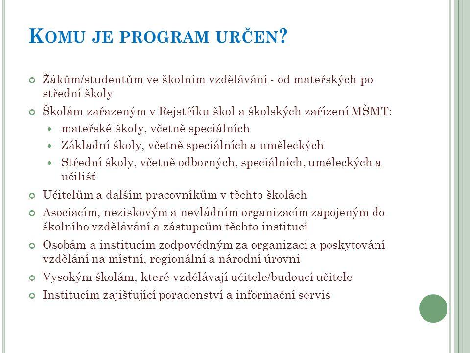 Komu je program určen Žákům/studentům ve školním vzdělávání - od mateřských po střední školy.