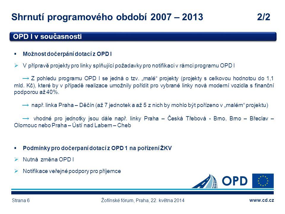 Shrnutí programového období 2007 – 2013 2/2