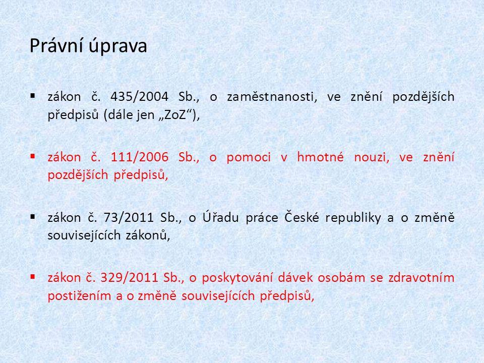 """Právní úprava zákon č. 435/2004 Sb., o zaměstnanosti, ve znění pozdějších předpisů (dále jen """"ZoZ ),"""