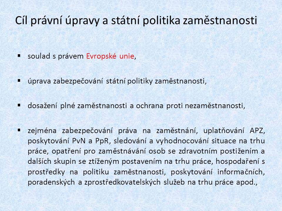Cíl právní úpravy a státní politika zaměstnanosti