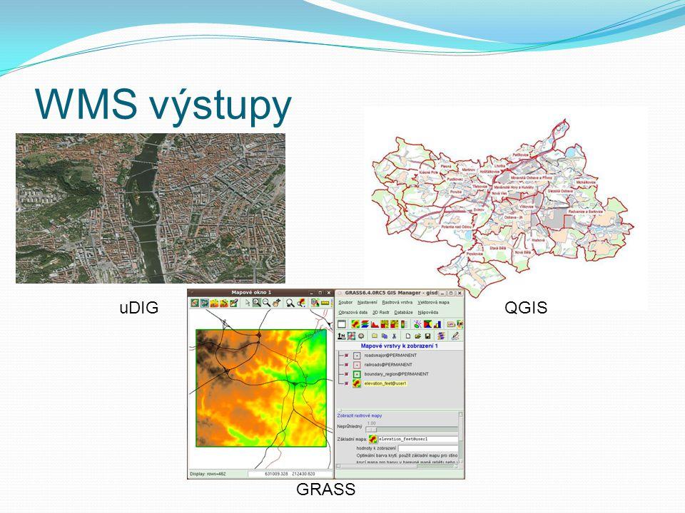 WMS výstupy uDIG QGIS GRASS