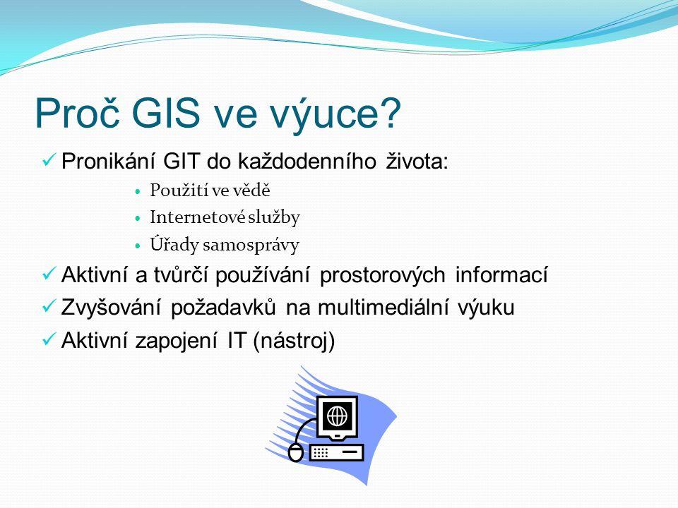 Proč GIS ve výuce Pronikání GIT do každodenního života: